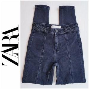 Zara High Rise Moto/Rocker Black Skinny Jeans